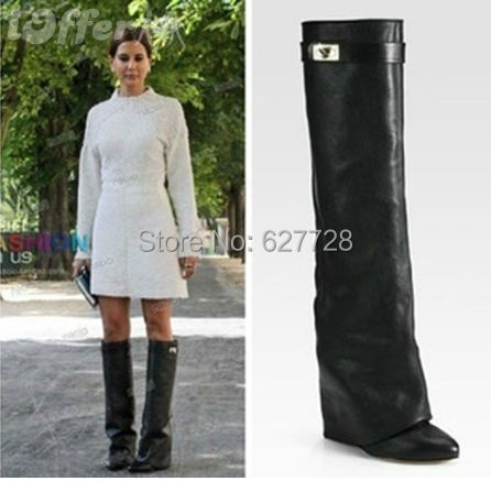 2016 Genuine Leather Women Knee High Boots Pointed Toe Buckle Fashion Designer Motocycle Plus Size Ladies Shoes - Shop627728 Store store