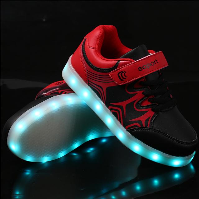 Мода ПРИВЕЛИ Детей Кроссовки детские USB Зарядки Световой Освещенные Кроссовки Мальчика/Девушки Красочные огни Детей Shoes size 25-35