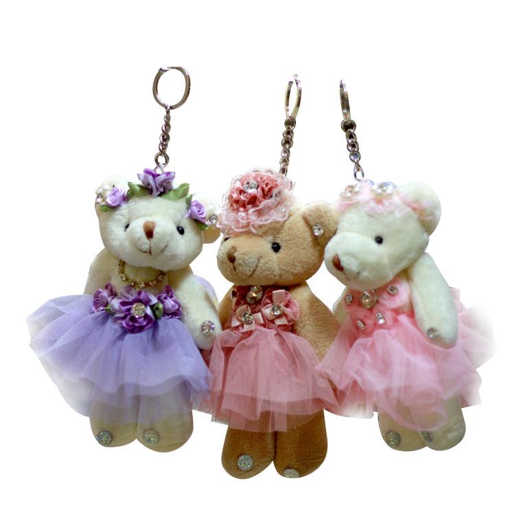 5pcs/lot Christmas Gift Mini Plush Teddy Bear Toys Doll Wedding Lovely Teddy Bears Phone Charm Stuffed Small Toy 3colors 17cm(China (Mainland))