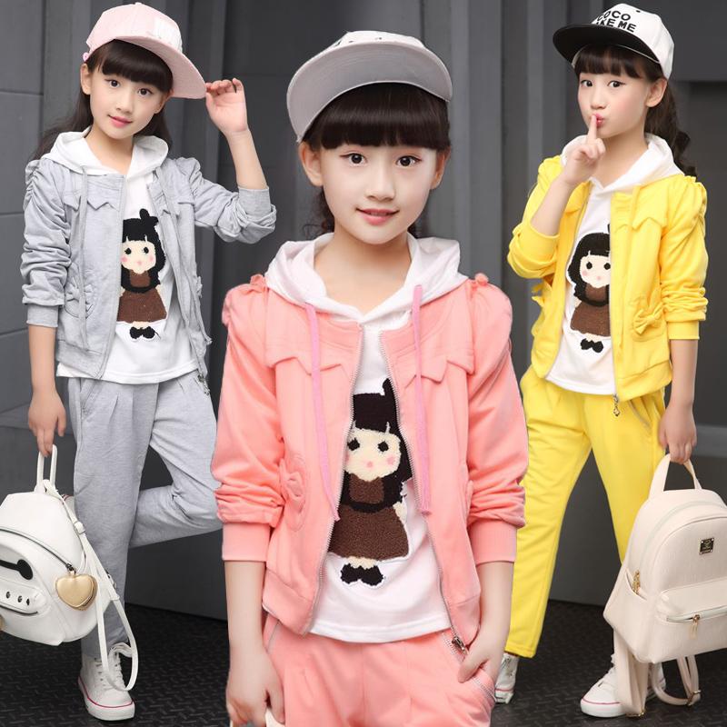 Children's clothing female child autumn 2016 new casual sports female child girl autumn 2 piece set Free shipping(China (Mainland))