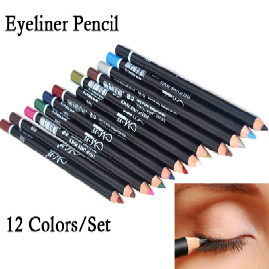 12 Colors Eye Make Up Eyeliner 2 Model Pencil Waterproof Eyebrow Beauty Pen Eye Liner Lip sticks Cosmetics Eyes Makeup(China (Mainland))