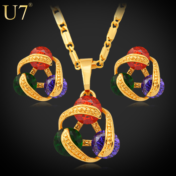 U7 Luxury Zircon Necklace Set For Women Free Shipping Trendy 18K Real Gold Plated Zirconia Necklace Earrings Jewelry Sets S417(China (Mainland))