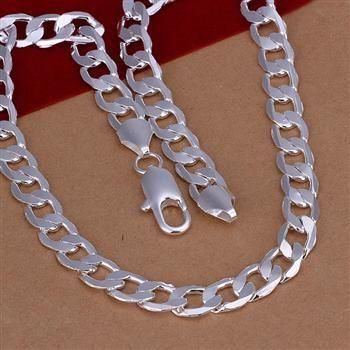 N005 925 sterling wholesale silver Necklace, 925 silver Pendant fashion jewelry 10mm Flat Necklace /aesaivza bqyakifa(China (Mainland))