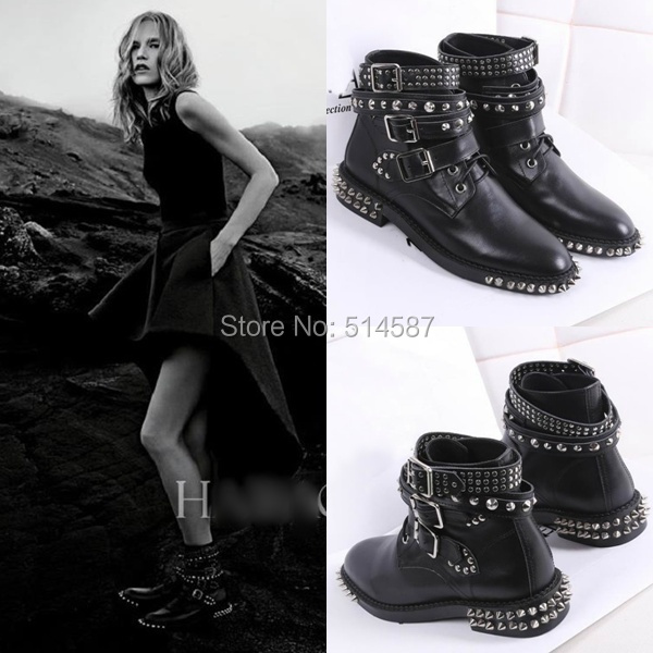 Punk fashion women motorcycle ankle boots studded and rivets flat ...