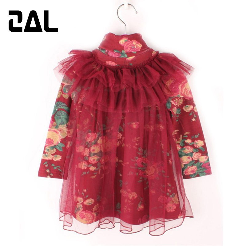 2015 New Arrival Spring&Autumn Girls Dress Two Layers Cotton Cute Style Princess Bud Silk Dresses for Kids vestido 20B(China (Mainland))