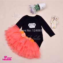 2015 New Born Summer Black Baby Girls Skirt Infant Toddler Crown Bodysuits + TUTU Skirts Clothing For 3-6-9-12-15-18-24 Mouth(China (Mainland))