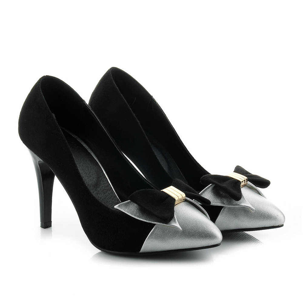 Black Stilettos With Silver Heels
