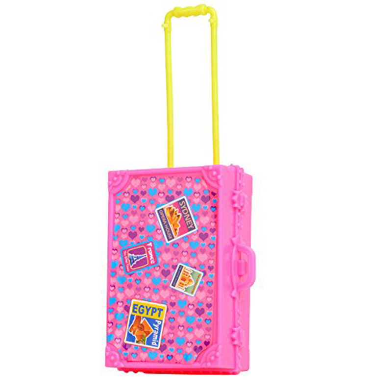 2016 New 3D Cute Kid Child Travel Train Suitcase Luggage Doll House Dress Gift Toys Dollhouse Furniture Dolls Toy For Children(China (Mainland))