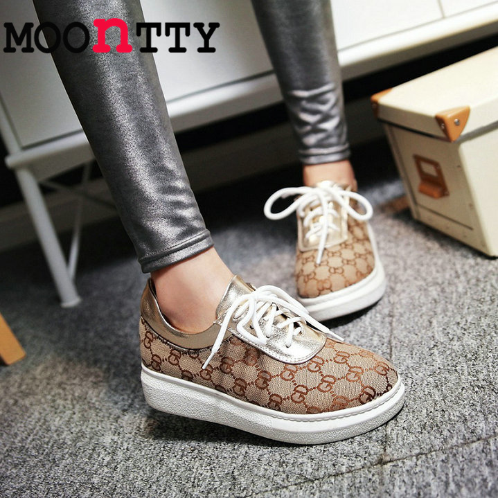 MOONTTY Pu Printing Leather Women Pumps Lace Up Platform Mixed Color Spring/Autumn Miss Party Shoes Round Toe Size 34-43 Beige