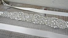 Free shipping 2016 belt crystal bridal waist band beaded rhinestones jewels bling handmade satin sash wedding accessories(China (Mainland))