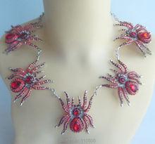Rhinestone Necklace Earring Set, Halloween 5 Spider Necklace Earring Set Red Rhinestone Crystal Insect, Holiday Gifts SET08476C2(China (Mainland))