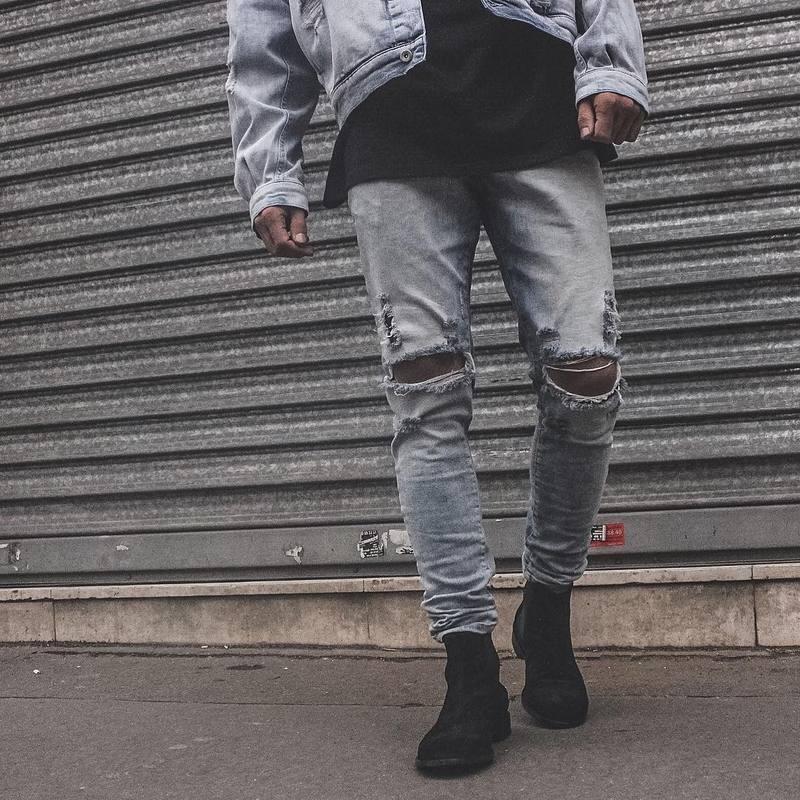 Скидки на 2016 НОВЫЙ высокое качество моды случайные мужские джинсы Kanye West сломанной отверстие джинсы мужчин брюки Оптом и в розницу