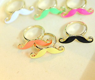 Min order is $10(mix order) Vintage style ring finger ring beard moustache women neon color rings(China (Mainland))