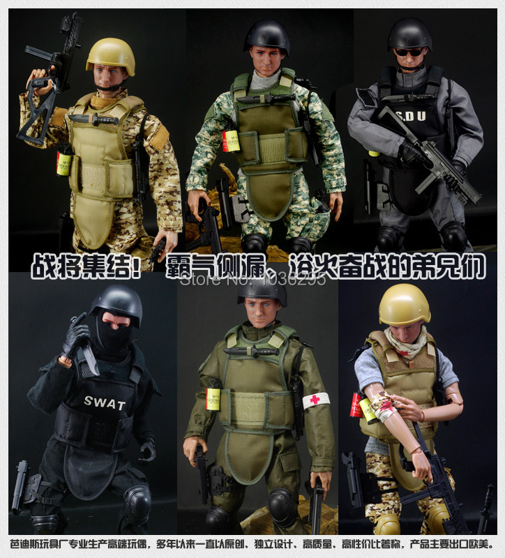 """hot ! NEW 1pcs 12"""" 1/6 SWAT Black Uniform Military Army Combat Game Toys Soldier Set with Retail Box Action Figure Model toys(China (Mainland))"""