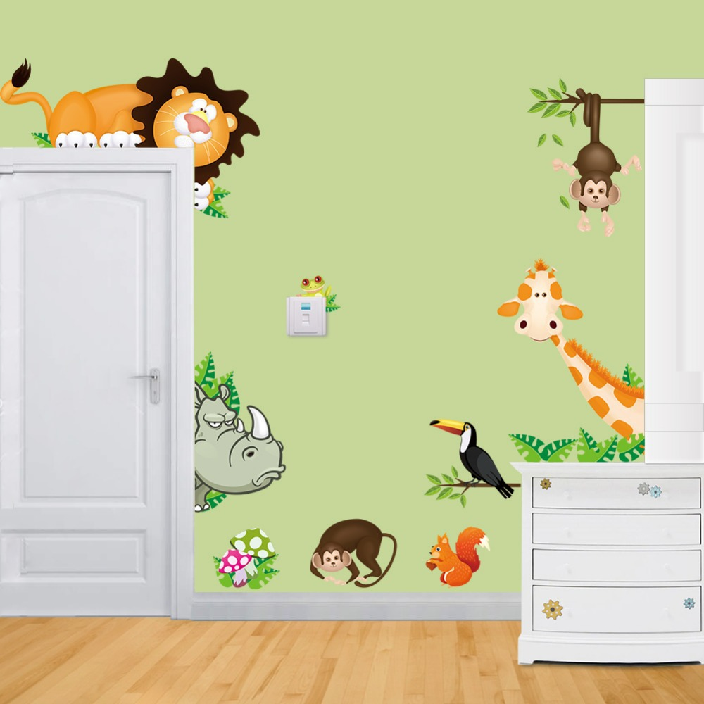 Elephant Lion Monkey Giraffe Cartoon Wall Stickers For Kids Room Animal Funny Children Vinyl Stickers(China (Mainland))