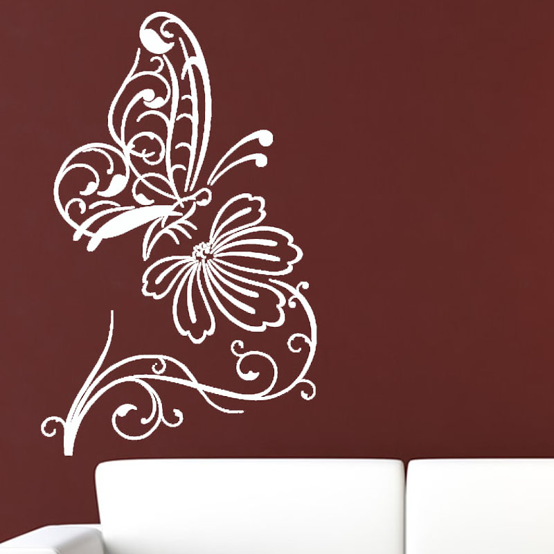 Nature Style Home Decoration Wall Sticker Butterflies Flower Living Room Removable Vinyl Art Wall Decal