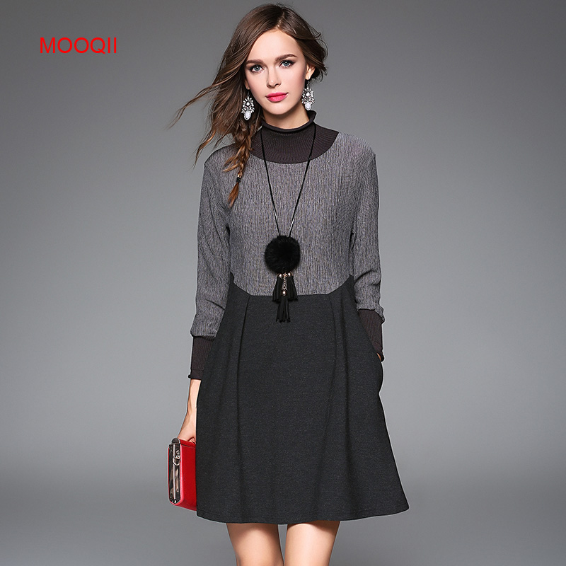MOOQII 2016 Cotton Long Sleeve Knee Length Dress Autumn Winter Women Dresses with Necklace(China (Mainland))