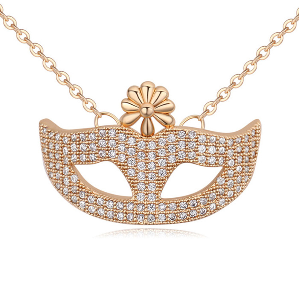 fashion Woman Eye Mask Pendant Crystal Necklace Gold plated Silver Chain Necklace Zircon Flowers Jewelry Gifts collar bijoux(China (Mainland))