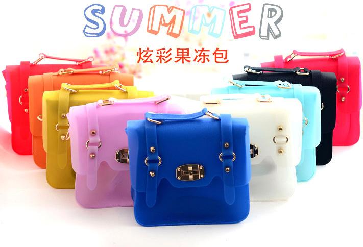 FreeShipping Candy Color Transparent Jelly Bags Woman One Shoulder Handbags PVC Vintage Summer Messenger Tote Bag Bolsa De Praia(China (Mainland))