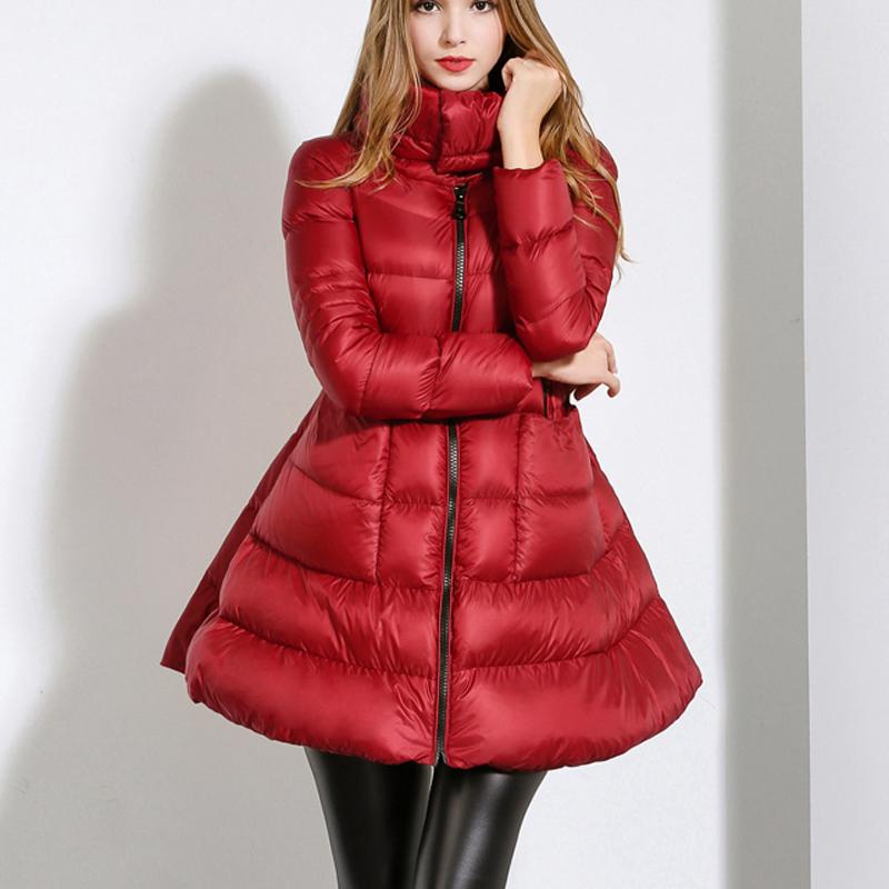 2015 New Winter Jacket Women White Duck Down Slim Down Jacket Long Sections Cloak Type Jacket Winter Parka Female WY084