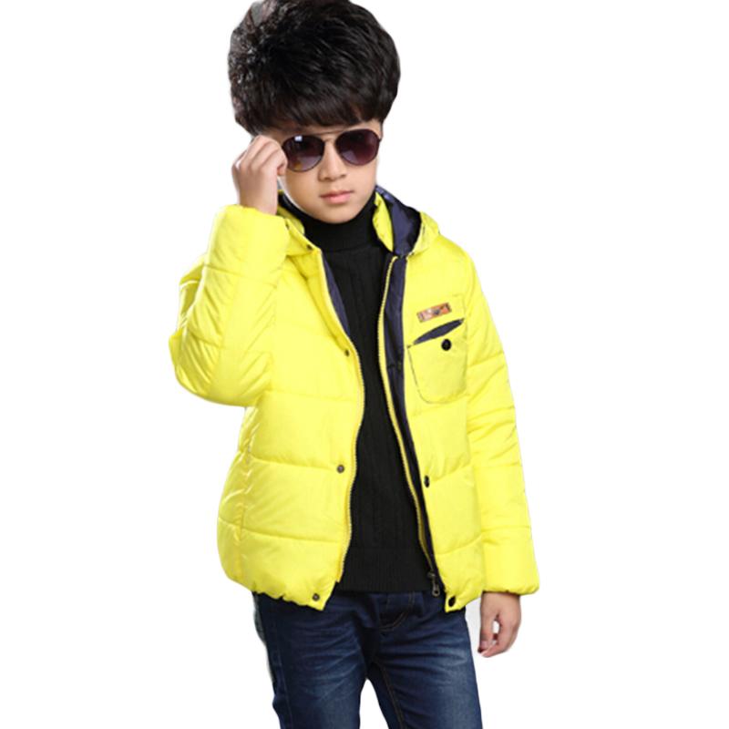 Jongens Winterjas Boy Winter Coat Hooeded Long Sleeve Warm Cotton Parka Children Single Breasted Boys Jacket Solid EC503
