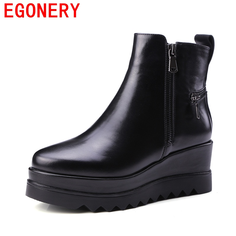 Фотография 2017 EGONERY new spring winter comfortable ankle shoes women 6cm wedges fashion boots genuine zipper leather boots for women