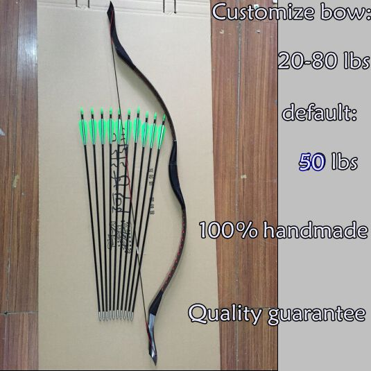Free Shipping New 50 LBS Outdoor Sport Archery Traditional Take Down Hunting Shooting Recurve Long Bow