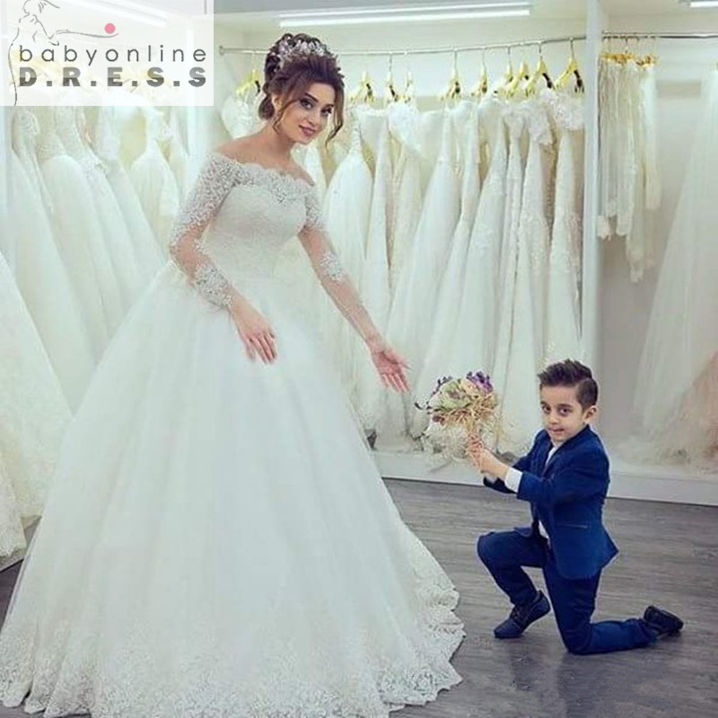 Elegant White Long Sleeves Off the Shoulder Wedding Dresses Gorgeous Tulle Lace Appliques Bridal Dress 2016 vestido de noiva(China (Mainland))