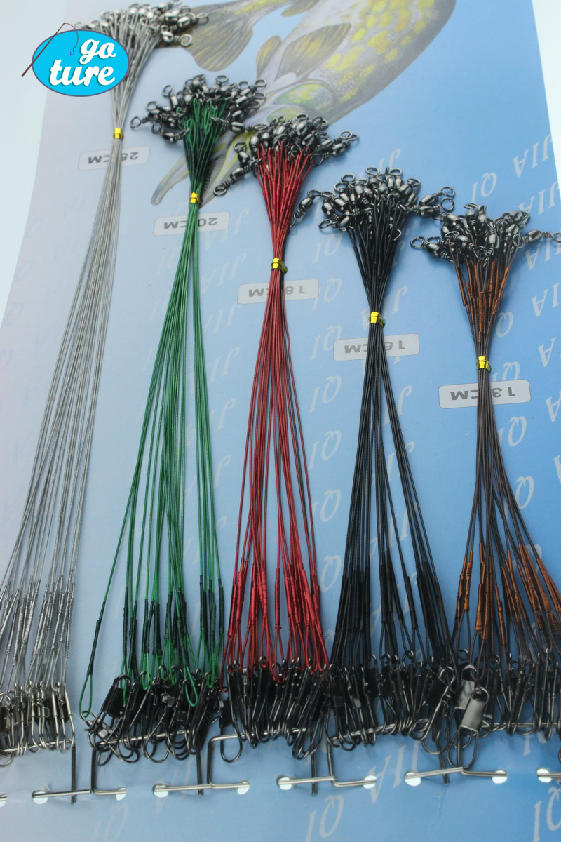 100pcs/set Steel Wire Leader Fishing Trace Lures Nylon coated fishing line 16/18/22/24/28cm Free Shipping(China (Mainland))