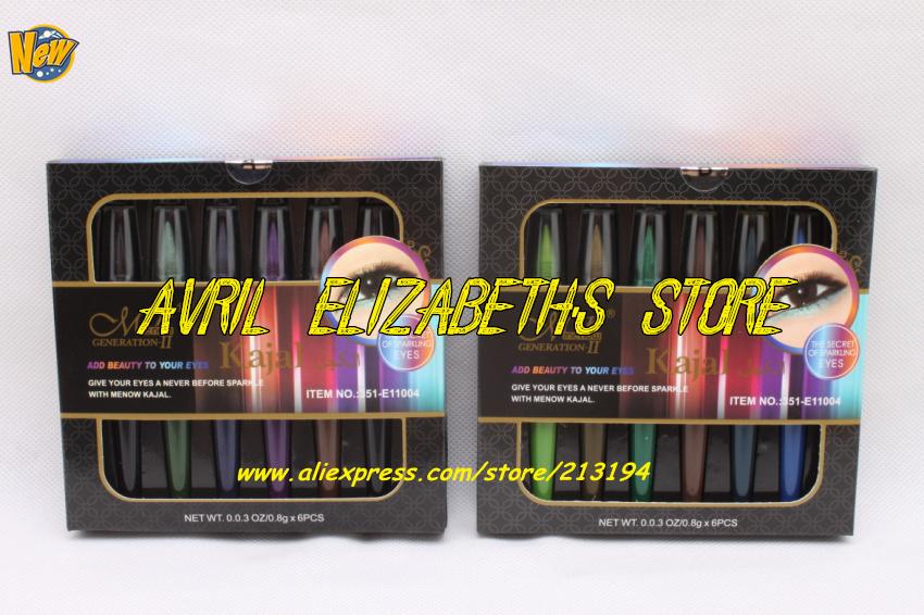 M.N Kajal Sparkling 6 Colors Crayon Waterproof Eyeliner Pencils Set 0.8g X ( B ) - Avril Elizabeth's Store store