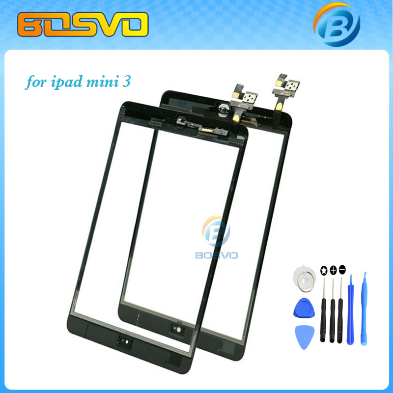 Touch screen for ipad mini 3 digitizer glass lcd panel with ic connector without home button+ 3M sticker 1 piece free shipping(China (Mainland))