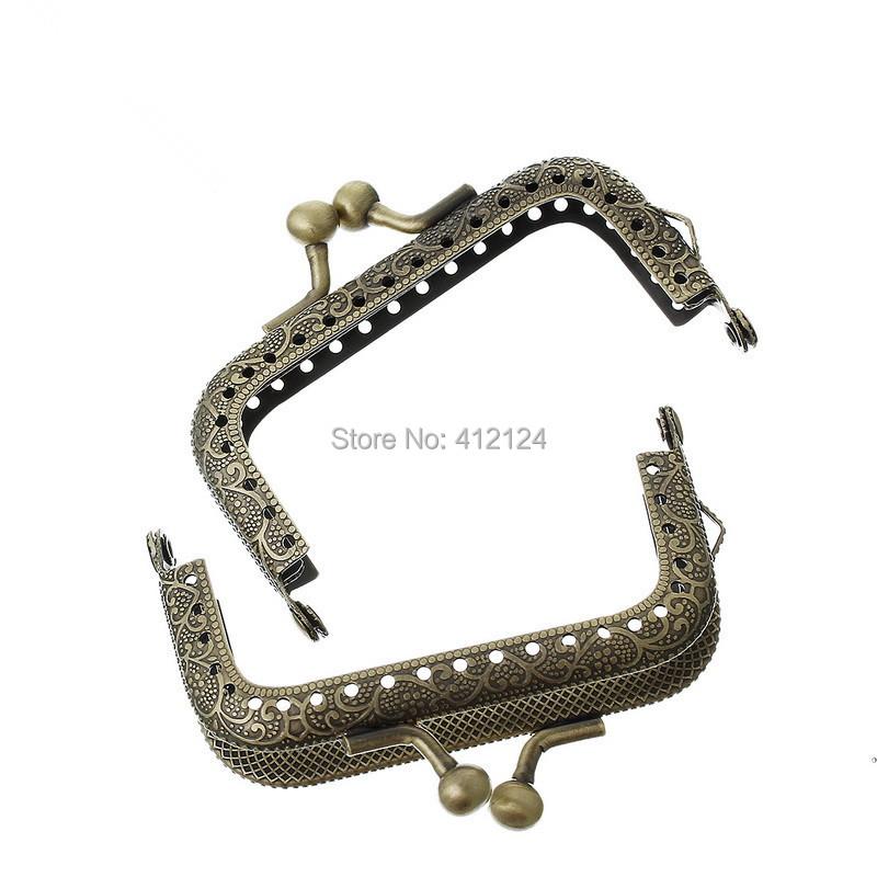 50Pcs Wholesale Metal Bronze Tone Purse Bag Handbag Frame Kiss Clasp Arch Handle Component 7.7x5.4cm(China (Mainland))