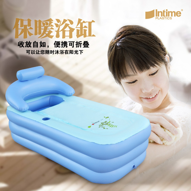Adult Spa PVC Folding Portable Bathtub Inflatable Bath Tub With Zipper Cover Drink Holder(China (Mainland))