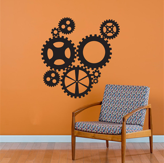 Steampunk Industrial Gears Collection Fashion Living Room Vinyl Carving Wall Decal Sticker for Home Window Decoration(China (Mainland))