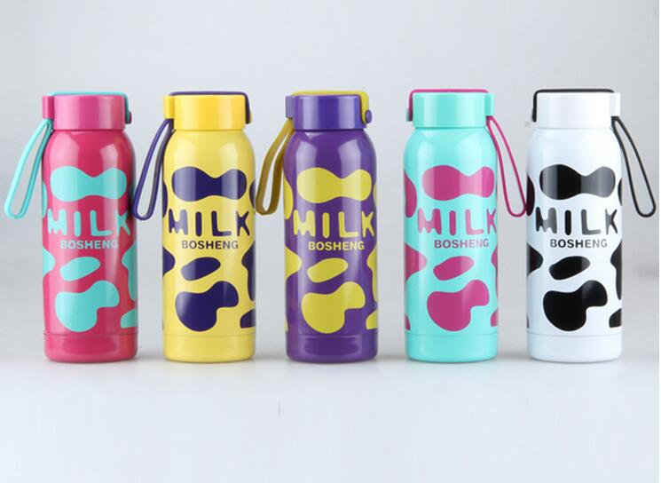 260/300ML Milk Cow Stainless Steel Thermos Flask Bottle thermos Child Vacuum Flask Coffee Cup Mug free shipping(China (Mainland))
