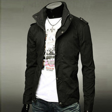 British style solid color winter models Slim collar jacket windbreaker jacket male(China (Mainland))