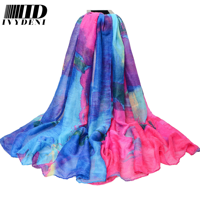 180*110cm Color Mixture Ladies Large Cotton Scarf Female Summer Beach Cover Ups Printed Gradient Long Voile Scarf Air Warm Pareo(China (Mainland))