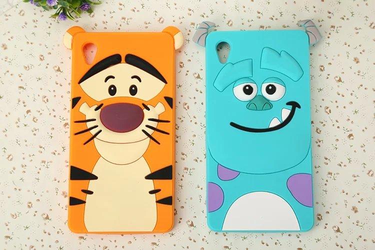 Cute 3D Cartoon Sulley Tigger Tiger Silicone Case Back Cover Sony Xperia M4 Aqua Dual E2303 E2333 E2353 - ALEX ZHOU Store store