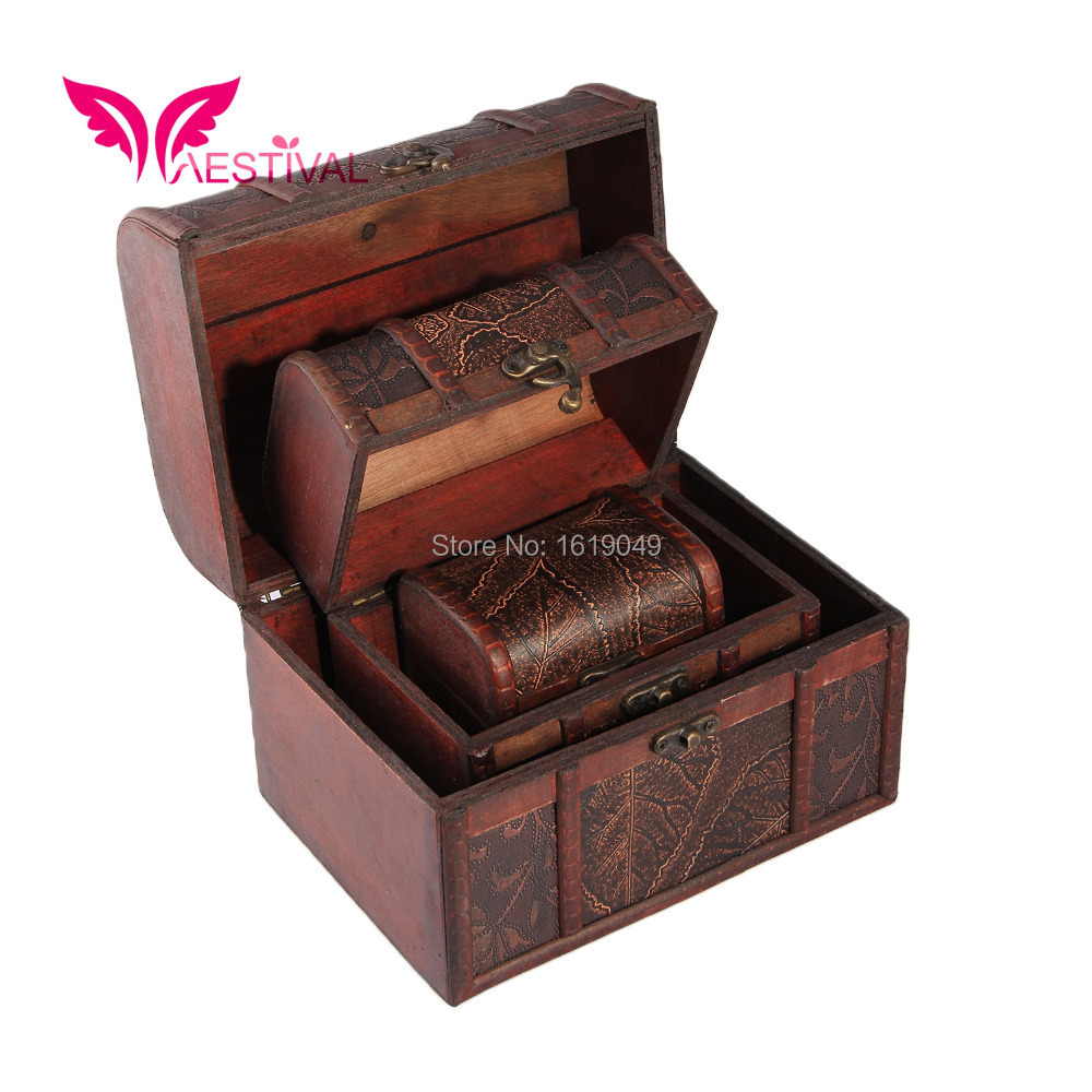 Chinese Characteristic Antique Wooden Embossed Flower Pattern Jewelry Box Storage Organizer Pack of 3 Free Shipping(China (Mainland))