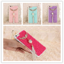 TPU Bead Tassel Angel Wings Soft Back Case Cover Protector Skin For iPhone 6 6S 6Plus 6splus 4.7 5.5 inch(China (Mainland))