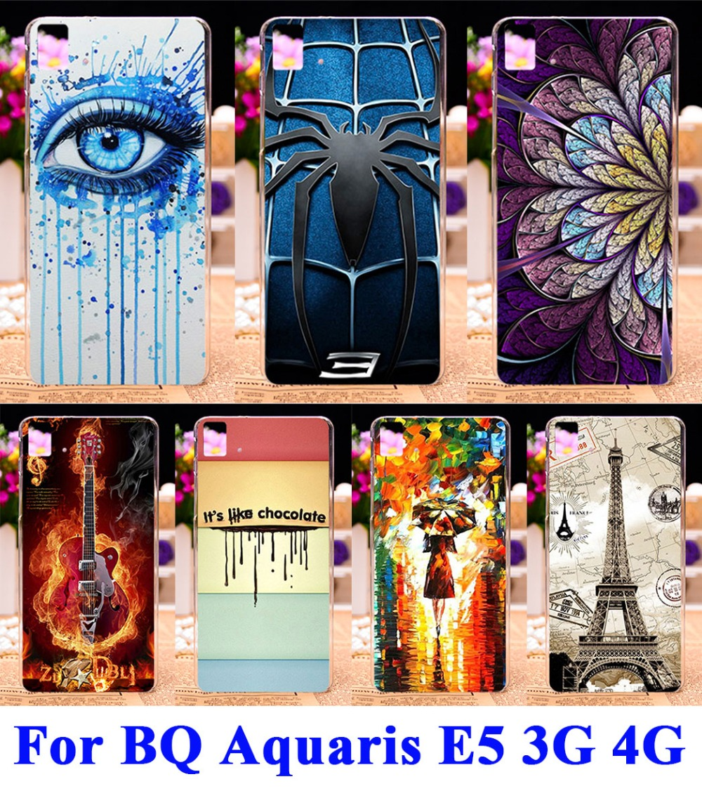 Colorful Painted Mobile Phone Cases Covers For BQ Aquaris E5 Housing 3G 4G Version Shell Hood Skin Hard Plastic Shield Case(China (Mainland))