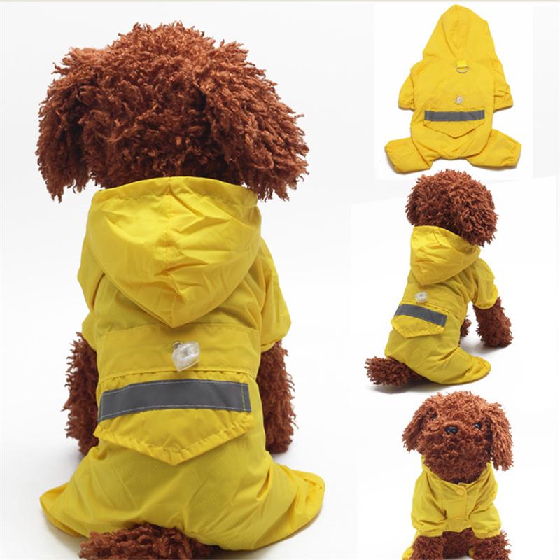 2016 new Brand New 4 Colors Pet Dog Rain Coat Fashion Dogs Puppy Raincoat Casual Waterproof Jacket Clothing XS-XXL Size Rainsuit(China (Mainland))