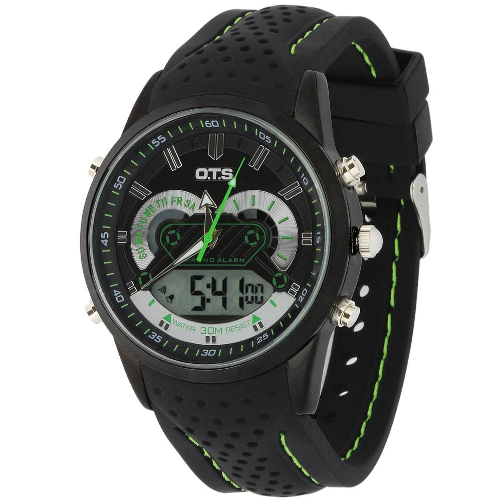 O.T.S Brand Men LED Digital Military Watch 30M Swimming Dress Sports Quartz Silicone Band Mens Boys Watches Relojes Hombre 2015(China (Mainland))