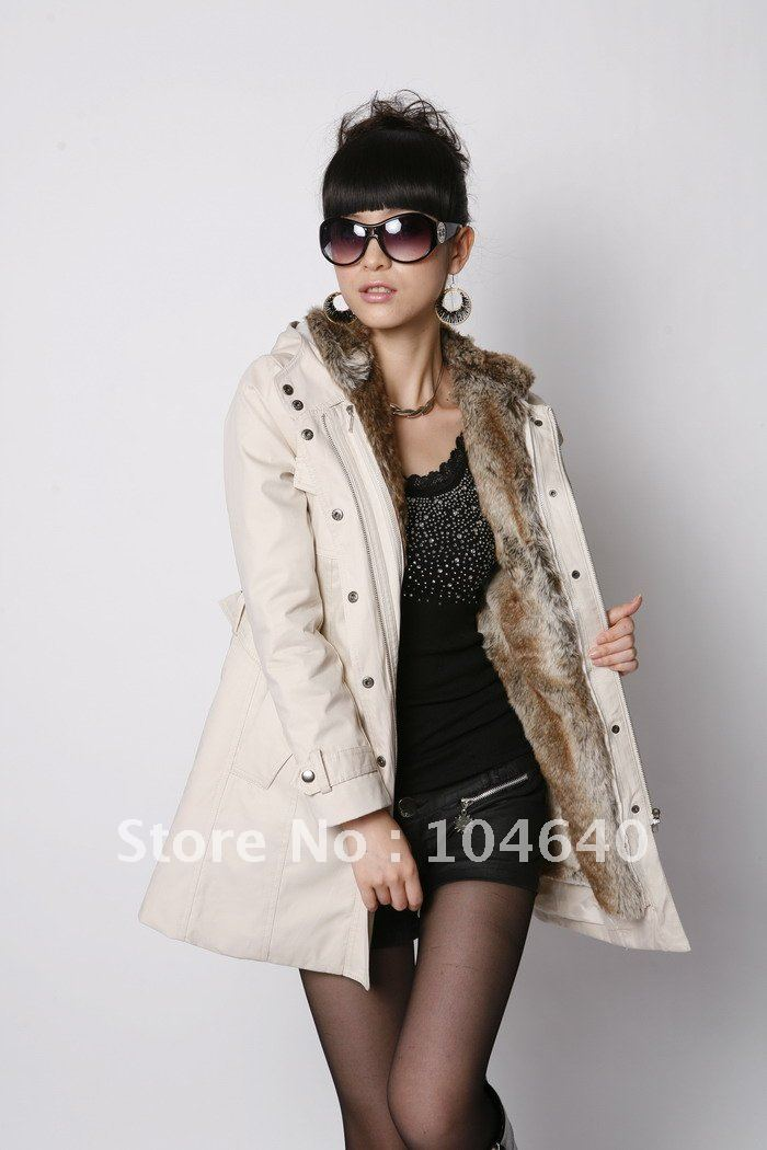 Women's Fur Coat Warm Long Faux Fur Lining Winter Outerwear Clothes Retail Best Selling M01(China (Mainland))