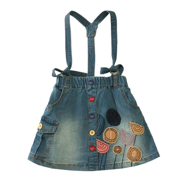 2015 New Girls Kids Straps Denim Skirt spring and autumn candy stick cloth embroidered cowboy short skirt wholesale<br><br>Aliexpress