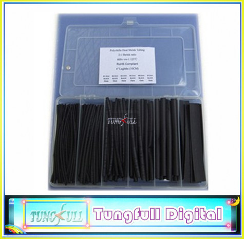 8 Sizes Heat Shrink Tubing Fit black Colors,Transparent plastic box 158pcs(China (Mainland))