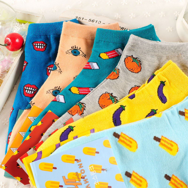 New Fashion Fruits And Vegetables Women Ankle Socks Tomato Pencil Icecream Harajuku Ladis Short Sock Funny Cozy Cotton Sox(China (Mainland))