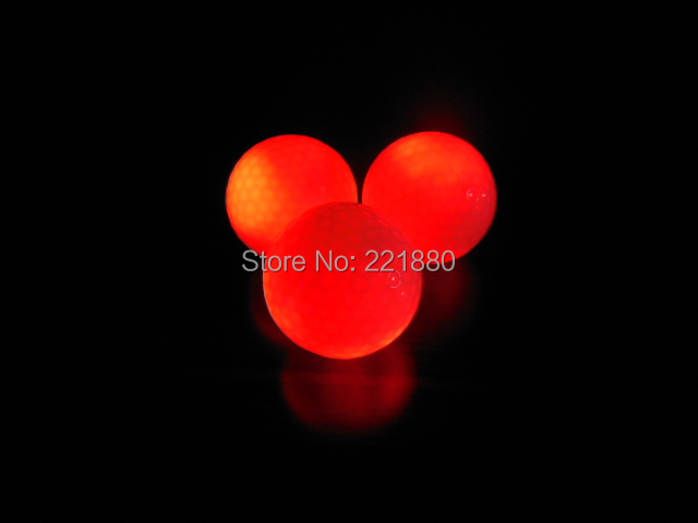 Hot selling 10pcs Red LED Golf Ball With Night Training Constant Shining Two Piece Golf Practice Balls Free shipping!(China (Mainland))