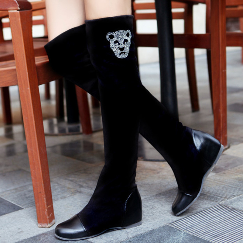new Big34-47 New fashion wedges long Rhinestone Over-the-Knee boots Women Shoes Round toe Platform Winter Boots for Women<br>