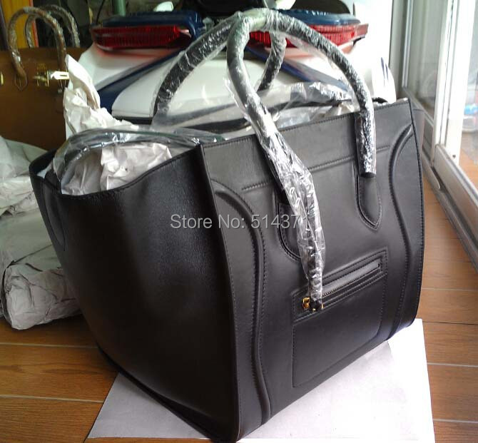 brand TOP QUALITY Real Leather black calf leather Phantom Luggage Handle Bag, 7 days EMS free Shipping(China (Mainland))